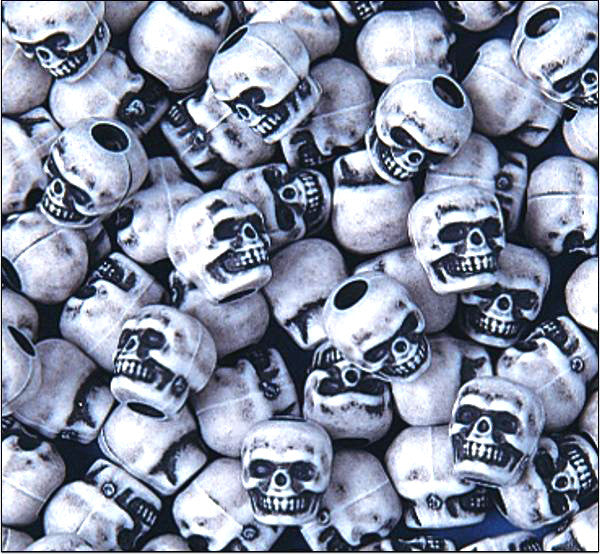 White Plastic Skull Bead 25 Pack -  - Shop Robbys