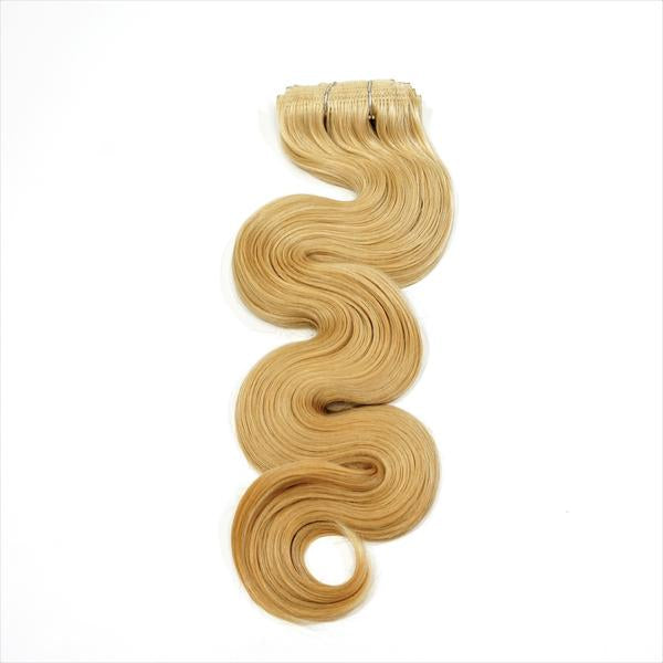 "Bodywave Clip-In 18"" Hair Extensions Light Warm Brown / Pale Golden Blonde Blend"