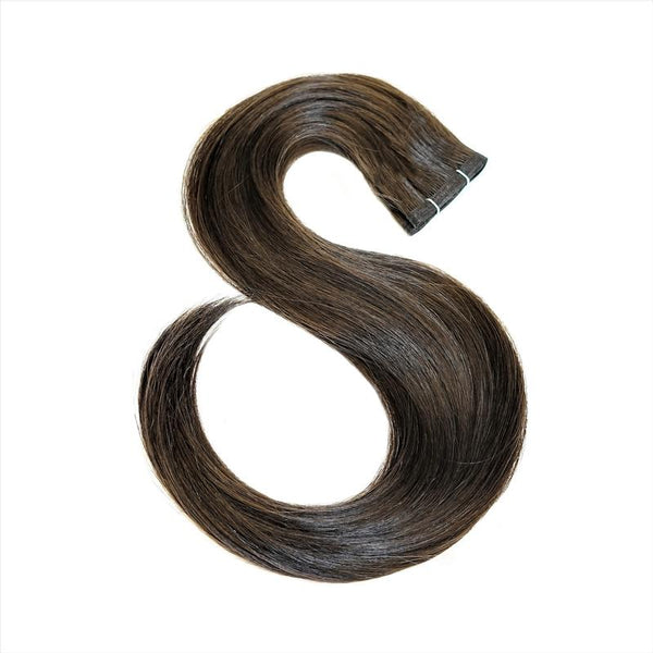 "E-Weft 18"" Hair Extensions Darkest Brown / Medium Golden Brown / Light Strawberry Blonde"