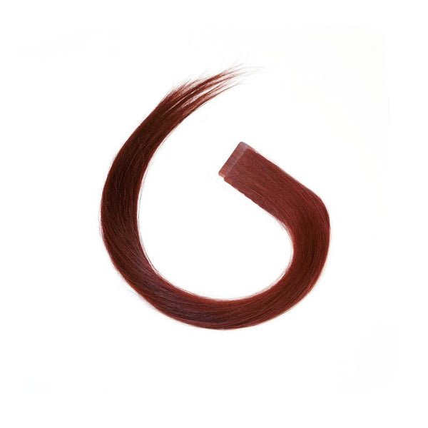 "S-Tape 18"" Straight Tape-in Hair Extensions Deep Natural Red"