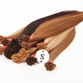 "M-Tip 14"" Straight Hair Extensions Light Warm Brown"