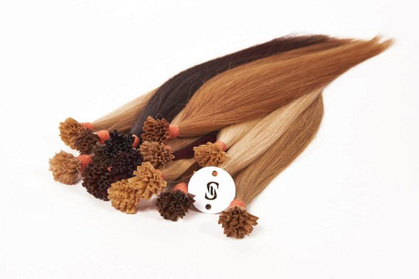 "M-Tip 14"" Straight Hair Extensions Light Warm Brown / Pale Golden Blonde Blend"