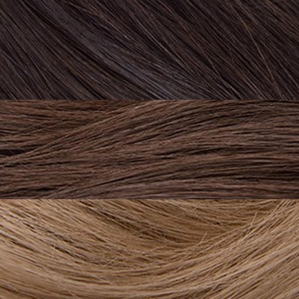 "S-Tape 18"" Straight Tape-in Hair Extensions Darkest Brown / Medium Golden Brown / Light Strawberry Blonde"