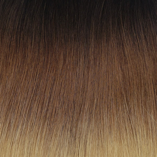 "S-Tape 22"" Straight Tape-in Hair Extensions Darkest Brown / Medium Golden Brown / Light Strawberry Blonde"