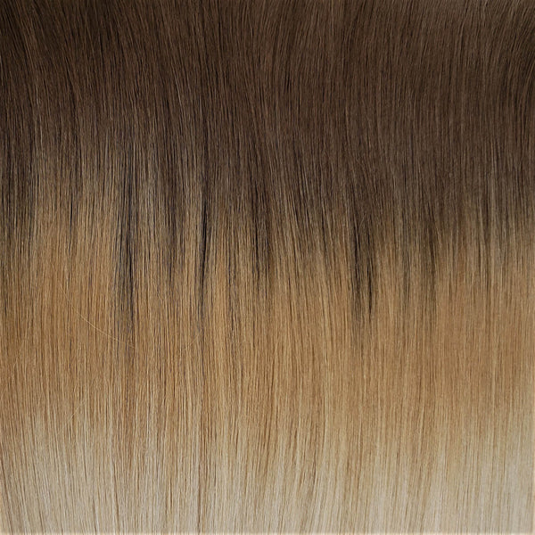 "M-Tip 22"" Straight Hair Extensions Medium Golden Brown / Medium Strawberry Blonde / Bright Beige Platinum"
