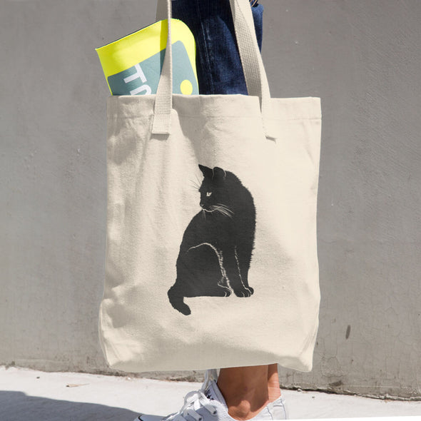 Black Cat Print Cotton Tote Bag