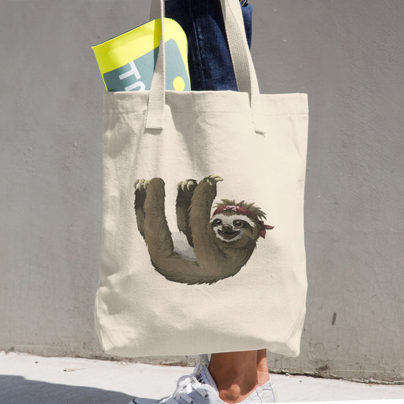 Hanging Sloth Print Cotton Tote Bag