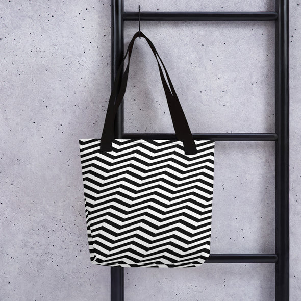 Black and White Slanted Zigzag Pattern Tote Bag