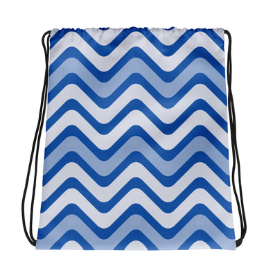 Blue Wave Pattern Drawstring Bag