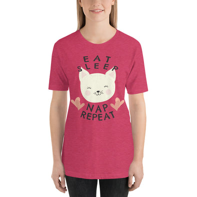 """Eat. Sleep. Nap. Repeat"" Short-Sleeve Women's T-Shirt"