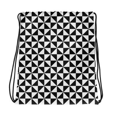 Black and White Triangle Pattern Drawstring Bag