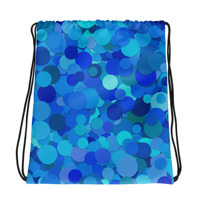Blue Circle Pattern Drawstring bag