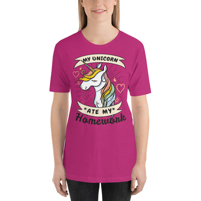 """My Unicorn Ate My Homework"" Short-Sleeve Women's T-Shirt"