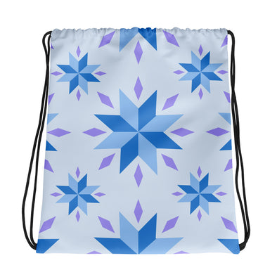 Blue and Purple Snowflake Pattern Drawstring Bag