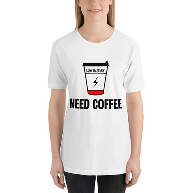 """Low Battery. Need Coffee"" Short-Sleeve Women's T-Shirt"