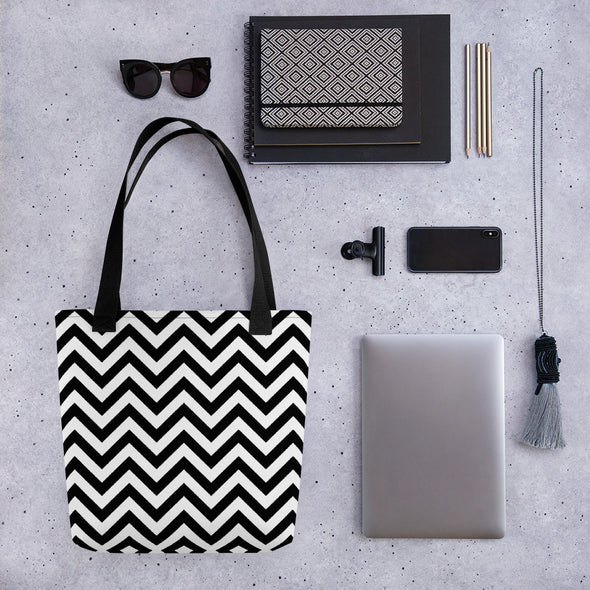 Black and White Zigzag Pattern Tote Bag