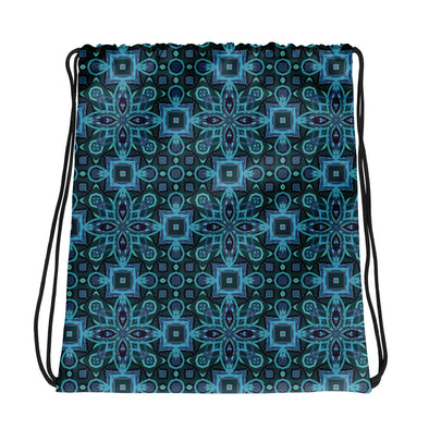 Blue Abstract Pattern Drawstring Bag