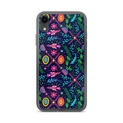 Neon Floral Pattern iPhone Case
