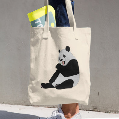 Panda Bear Print Cotton Tote Bag
