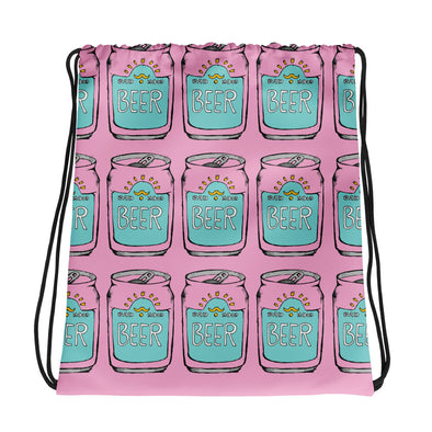 Beer Can Pattern Drawstring Bag