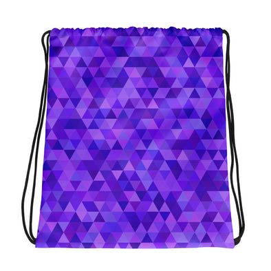 Purple Geometric Triangle Pattern Drawstring Bag