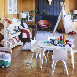 Shop Oeuf Canada Modern Kids Play Table and Chairs Room Setting