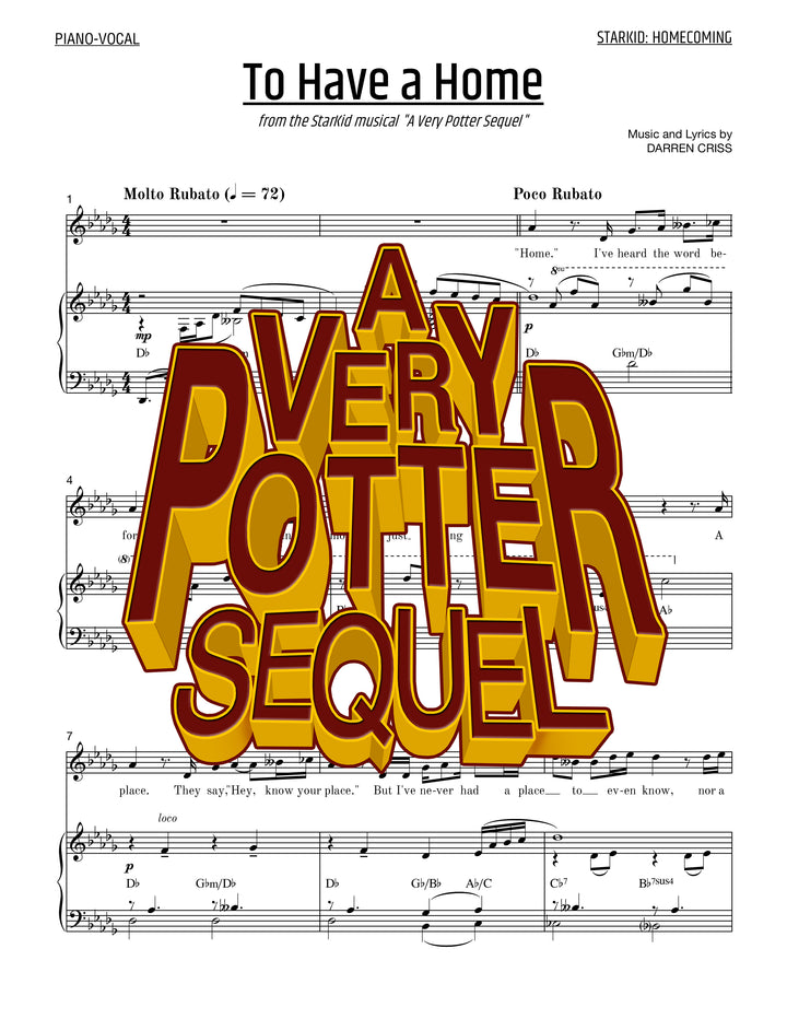 A Very Potter Sequel - Sheet Music - To Have A Home