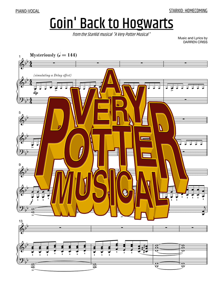 A Very Potter Musical - Sheet Music - Goin' Back To Hogwarts