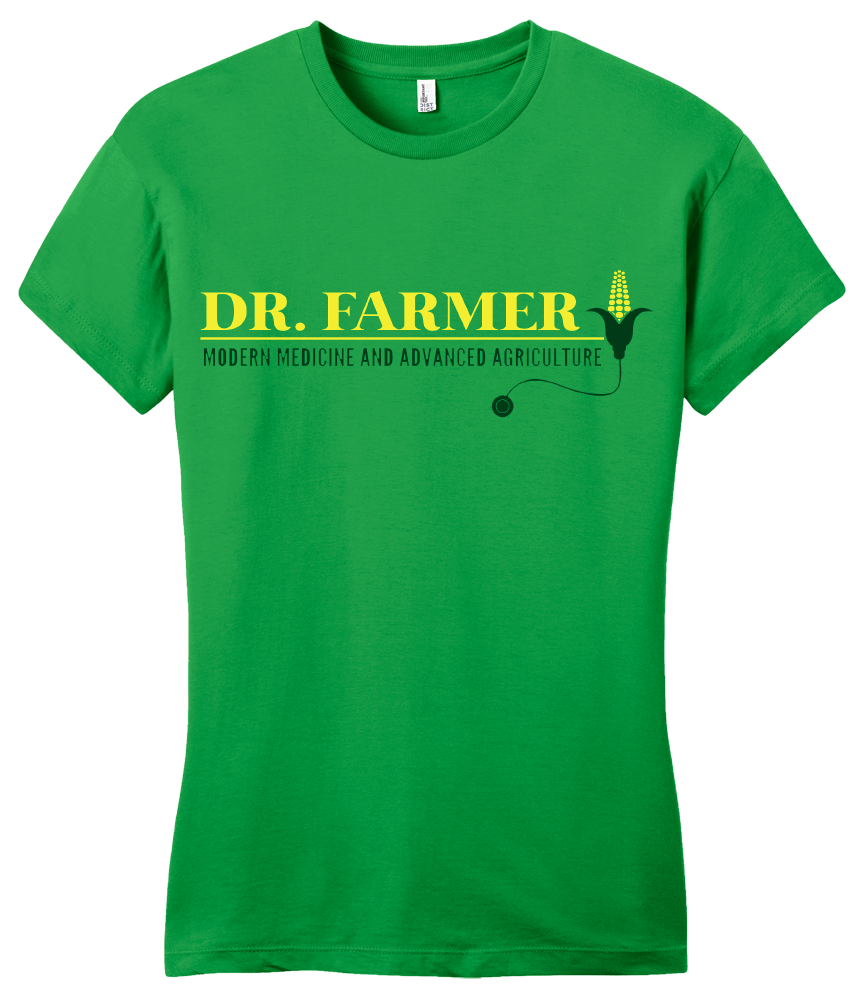 "Girly Green StarKid Airport for Birds ""Dr Farmer"" T-shirt"