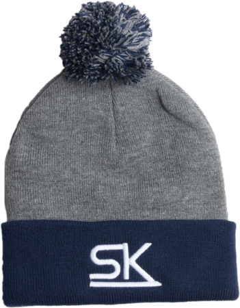 StarKid – Dark Heather Grey and Navy Winter Pom Hat