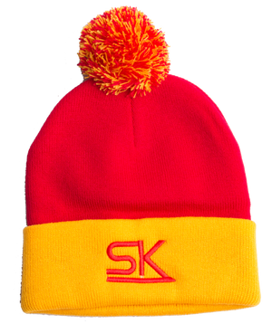 StarKid – Red and Gold Winter Pom Hat