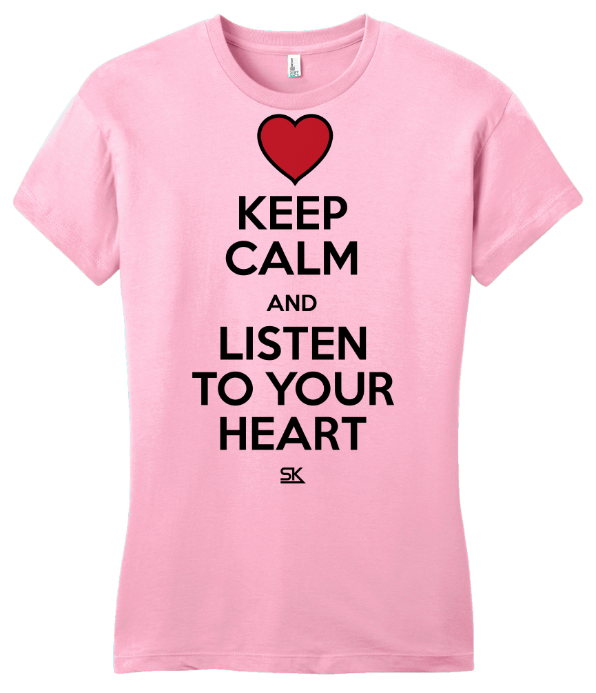 Girly Pink Keep Calm and Listen To Your Heart T-shirt