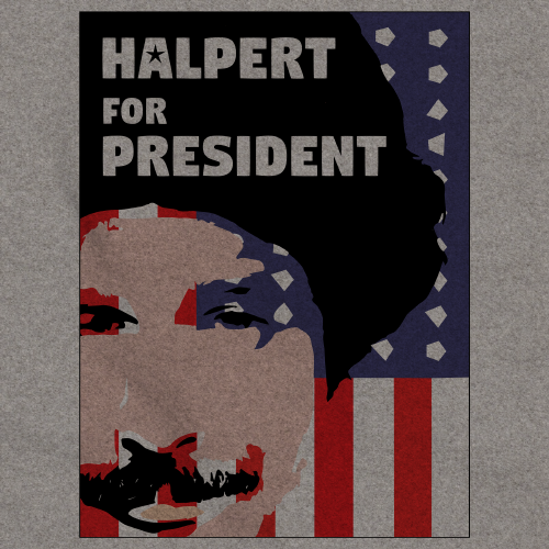 Movies, Musicals, and Me - Halpert for President Crewneck Grey Art Preview