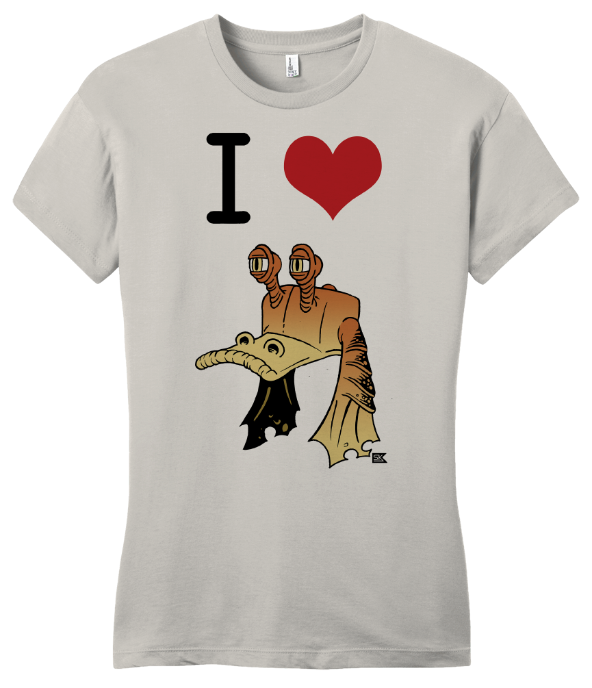 Girly Light Grey StarKid Ani I heart Jar Jar  T-shirt