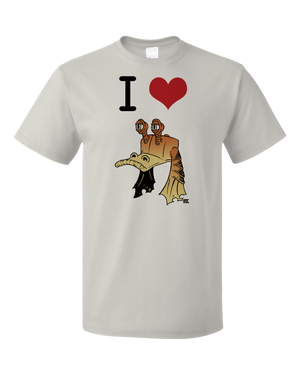Standard Light Grey StarKid Ani I heart Jar Jar  T-shirt