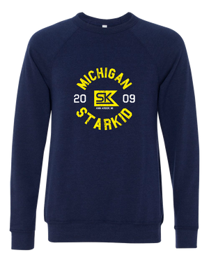 Raglan Crewneck Sweatshirt Navy Tri Blend StarKid 2009 Michigan Reunion Crewneck-Sweatshirt