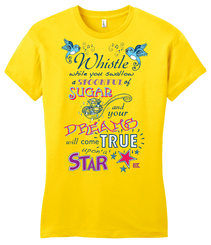 Girly Yellow StarKid Twisted Spoonful Lyrics Tee T-shirt