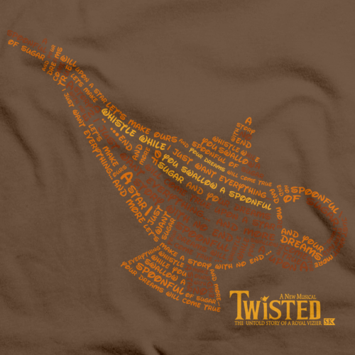 StarKid Twisted Lamp Lyrics Tee Brown art preview