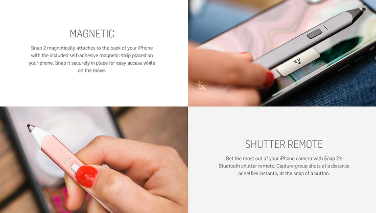 Adonit Snap 2 Bluetooth Stylus for iPhones with Remote Shutter