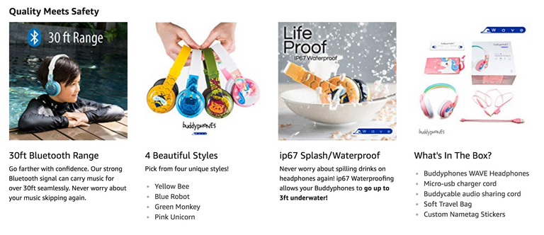 BuddyPhones WAVE Waterproof and Wireless Kids Headphones