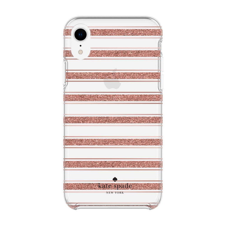 Kate Spade New York Hardshell Bold Stripe Case For iPhone XR - Rose Gold/Clear