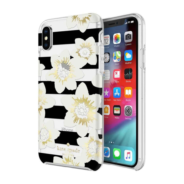 Kate Spade New York Hardshell Garden Bloom Case For iPhone X - Black/Clear/Gems