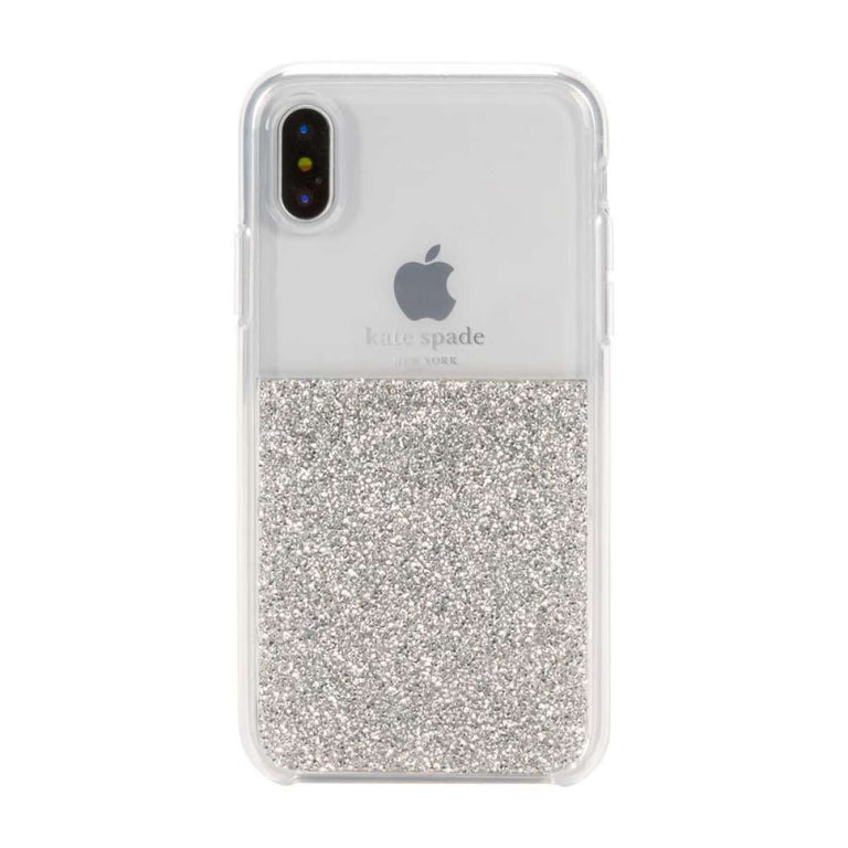 Kate Spade New York Hardshell Half Crystal Case For iPhone X - Silver