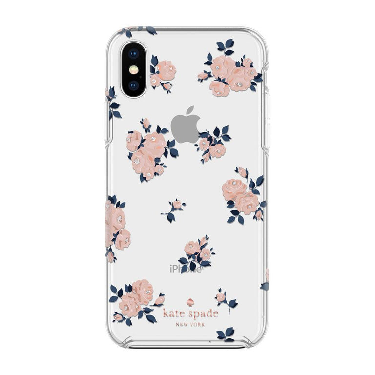 Kate Spade New York Hardshell Happy Rose Case For iPhone X - Pink/Navy/Gems
