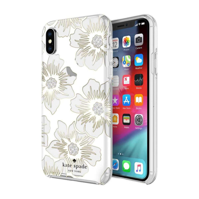 Kate Spade New York Hardshell Reverse Hollyhock Floral Case For iPhone X - Clear/Gems