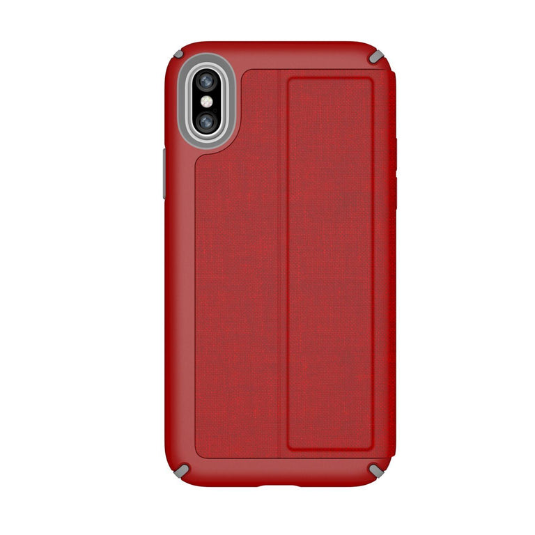 Speck Presidio Folio Phone Case For iPhone X - Red/Graphite Grey
