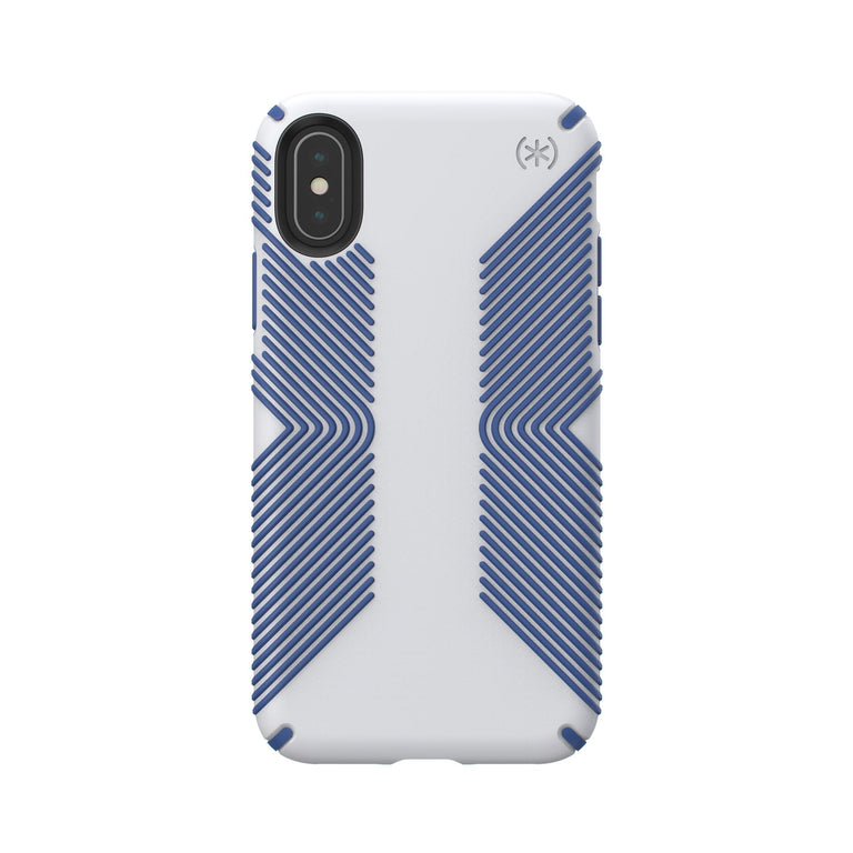 Speck Presidio Grip Phone Case For iPhone X - Microchip Grey/Ballpoint Blue