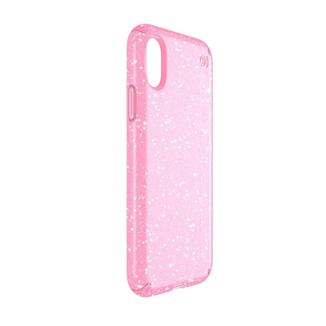 Speck Presidio Phone Case For iPhone X - Clear Glitter Bella Pink