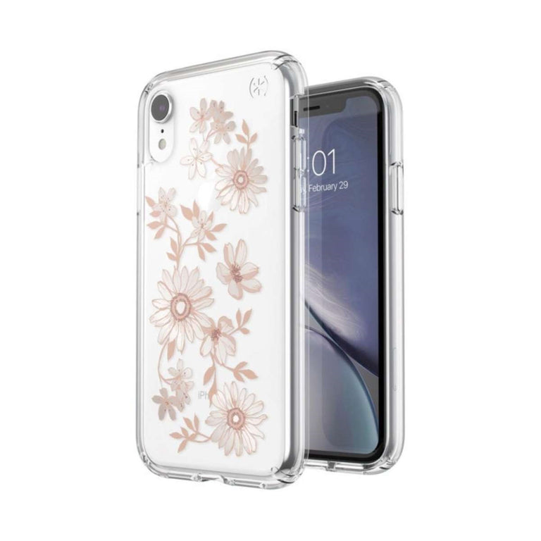 Speck Presidio Phone Case For iPhone X - Clear Print Fairytale Floral Peach Gold