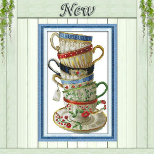 Paint 'N Crafts 11CT 35x54cm Elegant Coffee Cups - Cross Stitch Kit